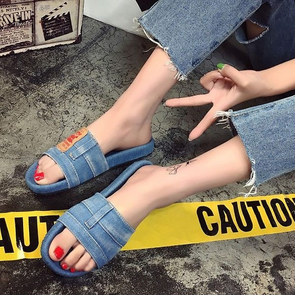 拖鞋-韓國新款復古風牛仔布涼鞋 拖鞋 休閒鞋 閨密鞋 2色【AN SHOP】