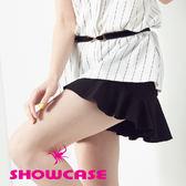 【SHOWCASE】時尚協釦波浪襬寬口褲裙(黑)