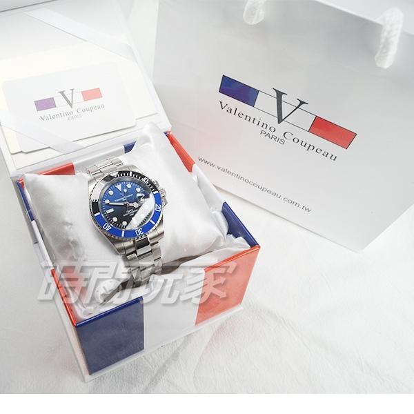 valentino coupeau范倫鐵諾 不鏽鋼 防水手錶 男錶 潛水錶 水鬼 石英錶 日期視窗 V61589B漸層藍