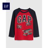 Gap男嬰幼童 logo插肩長袖圓領T恤 496362-正紅色