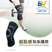 【BODYVINE 束健】超肌感貼紮護膝-強效加壓型『藍』CT-15521 (一只) 護具 登山 跑步 馬拉松 運動傷害