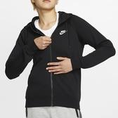 NIKE SPORTSWEAR 女裝 連帽外套 休閒 刺繡 刷毛 基本 黑 【運動世界】 BV4123-010