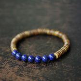 尾牙年貨 檀木鑲青金石珠子手串民族風時尚流行手鍊