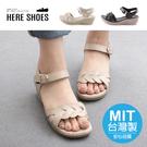 [Here Shoes] 5CM涼鞋 MIT台灣製 氣質百搭一字編織 皮革楔型厚底魔鬼氈涼拖鞋-AN5639