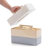 桌面木柄收納盒宿舍分格化妝品儲物盒辦公室桌上文具塑料整理盒wy【快速出貨】