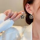 S925銀針高級黑珍珠閃鉆山茶花耳環女小眾設計感2021年新款潮夏