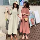 DE SHOP~(HL-4036)法式小眾連衣裙收腰長款短袖女學生長裙洋裝