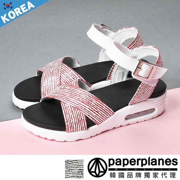 正韓製 版型正常 清新微甜 交叉顯瘦 舒壓氣墊 厚底涼拖鞋【B7900260】2色 韓國紙飛機-SD韓美鞋