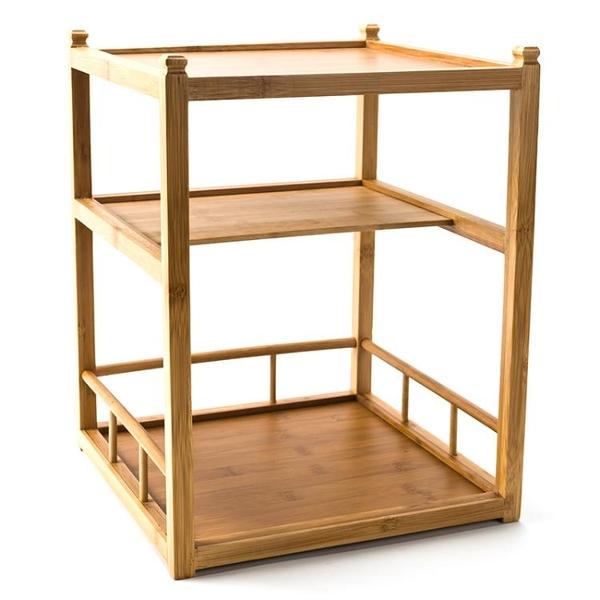 茶桌客廳擺件架子竹制置物架書房茶道收納架家居裝飾