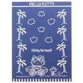 〔小禮堂〕Hello Kitty 純綿無捻紗涼毯浴巾《深藍.騎腳踏車》140x190cm.薄毯.冷氣毯 4992272-67333