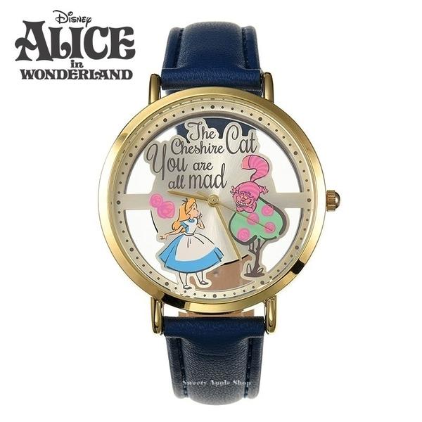 日本正版限定 SUN FLAME 迪士尼 愛麗絲&柴郡貓 英字版 皮革時尚腕錶 / 手錶