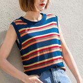 孜索2018夏季新款彩虹條紋T恤簡單百搭針織背心學生無袖上衣女潮『摩登大道』