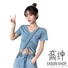 EASON SHOP(GW5880)實拍百搭短露肚臍拉皺綁繩大V領短袖T恤女上衣服彈力貼身內搭衫閨蜜裝素色棉T恤