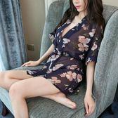 性感雪紡透視內衣女式極度誘惑大碼睡衣透明印花和服睡袍浴袍套裝『米菲良品』