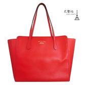 【巴黎站二手名牌專賣店】*現貨*GUCCI 真品*SWING系列 紅色牛皮托特包 購物包 肩背包