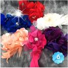 【胸針/髮飾兩用型】新娘髮飾頭花#鴨羽毛牡丹蕊帶鑽(單入)-不挑款 [50552]