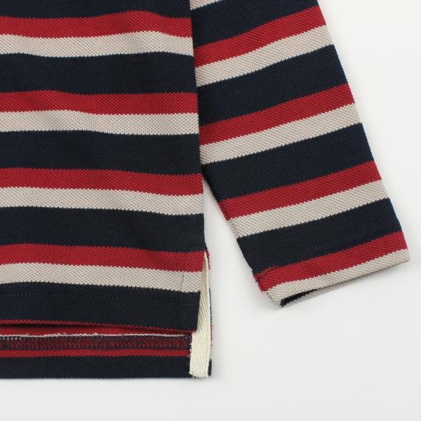 【愛的世界】純棉條紋POLO長袖上衣/6~8歲-台灣製- ★秋冬上著