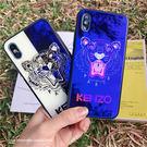 KENZO老虎藍光版IPHONE玻璃手機殼 9H鋼化玻璃殼 IPHONEX IPHONE7/8/6 情侶手機殼 歡迎批發