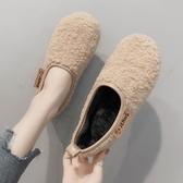 爆款熱銷軟底鞋加絨女毛毛鞋秋冬新款軟底懶人一腳蹬羊羔毛孕婦鞋聖誕節