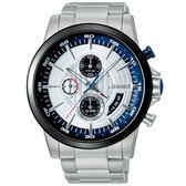 J.SPRINGS系列  龍戰騎士三眼計時時尚腕錶-黑銀X銀