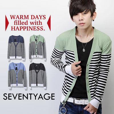∥柒零年代∥Sensibility【N7591J】日韓系都會隨性風格橫條紋拼接配色棉料排扣罩衫外套(SH3126)