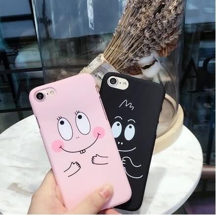 【SZ14】iPhone7/8 plus手機殼 粉黑泡泡巴巴 磨砂硬殼 iPhone 6s/6 plus/7手機殼iPhone SE/5s