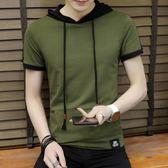 夏季男士連帽5分短袖T恤男韓版潮學生拼色ins風T恤男衛衣薄款外套-Ifashion