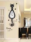 掛鐘 貓咪掛鐘創意客廳現代簡約鐘表時尚卡通掛表家用靜音個性時鐘裝飾 萬寶屋