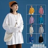 白色長袖t恤女ins潮新款韓版寬鬆純棉上衣春秋百搭內搭打底衫 雙十二全館免運