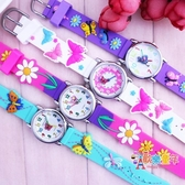 兒童指針錶 可愛卡通小女孩蝴蝶手錶 學生石英防水電子錶 幼童兒童寶寶腕錶 4色