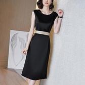 洋裝`法式醋酸連身裙女輕奢高端夏新款純色緞面無袖圓領一步裙H456-C胖妞衣櫥