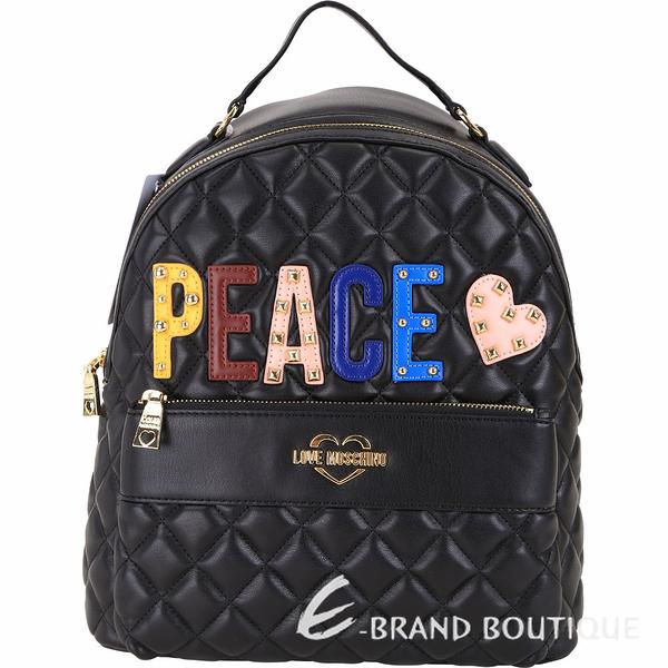 LOVE MOSCHINO PEACE字母鉚釘拼貼絎縫菱格後背包(黑色) 1910015-01