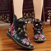 春秋老北京布鞋女繡花靴子平跟系帶短靴民族風女靴鑲鉆單靴子 入秋首選