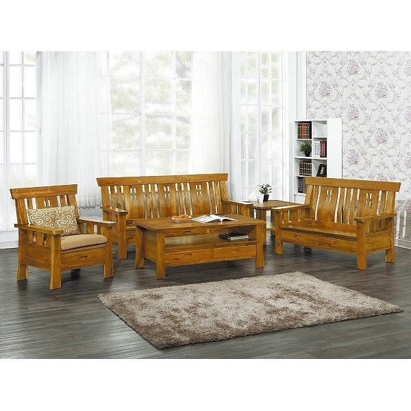 沙發組 CV-302-7 四孔柚木組椅 (含大小茶几) (不含坐墊) (可拆賣)【大眾家居舘】
