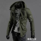 軍裝夾克男青年韓版修身軍綠色休閒上衣服秋冬薄款工裝加絨厚外套『潮流世家』