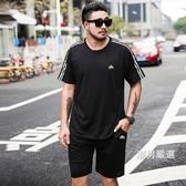夏季男士休閒運動套裝潮胖寬鬆大尺碼肥佬短袖t恤特大號健身兩件套2XL-9XL