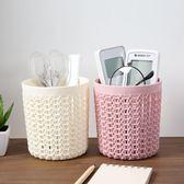 筆筒 鏤空多功能小筆筒塑料辦公收納筒 創意學生簡約桌面收納盒 萬聖節推薦