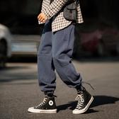 寬管褲 工裝褲男寬鬆直筒闊腿可束腳抽繩運動褲布褲【快速出貨】
