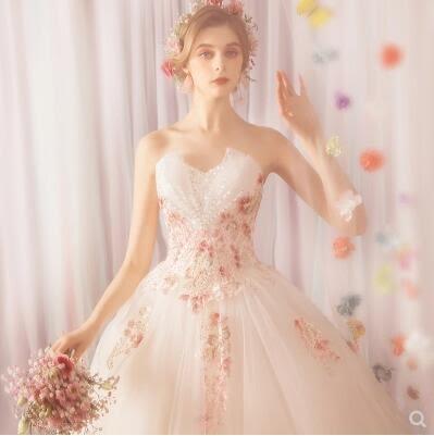 M-天使嫁衣 空靈森系花仙子 時髦個性玫瑰花朵抹胸公主新娘婚紗3161
