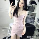 性感夜店女裝顯瘦吊帶深V領低胸露背包臀洋裝 韓語空間