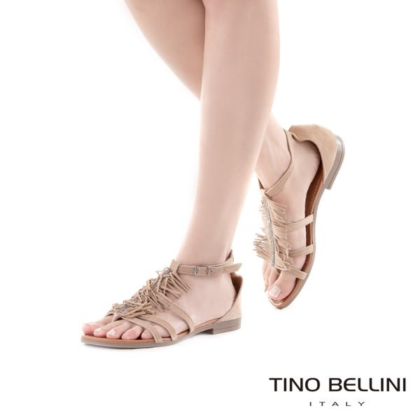 Tino Bellini 義大利進口波西米亞流蘇平底涼鞋(駝)_A63079  2016SS歐洲進口款