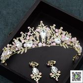 新娘頭飾 新娘飾品婚紗禮服頭飾配飾韓式手工粉色水鑚發飾甜美公主皇冠 玫瑰女孩