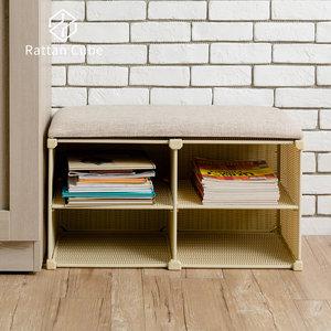 【藤立方】組合穿鞋椅(附2片層板)-自然色-DIY