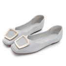 PLAYBOY 優雅浪漫 顯瘦方頭平底鞋-藍(Y7309)