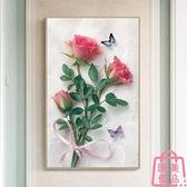 玫瑰花十字繡客廳線繡自己繡手工簡約現代刺繡【匯美優品】