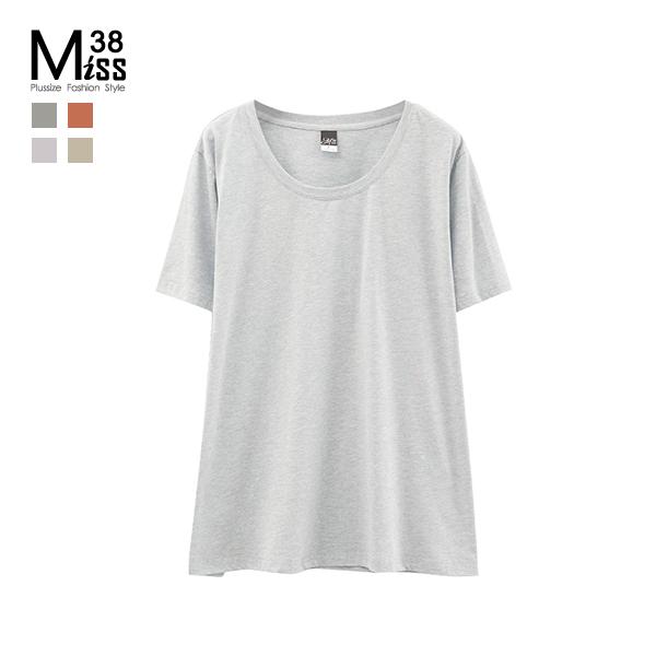 Miss38-(現貨)【A04708-1】大尺碼T恤 短袖上衣 百搭基本款 圓領多色 純棉純色 彈力內搭 -中大尺碼