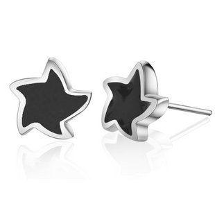 925銀黑色星星耳丁 純銀男款耳釘