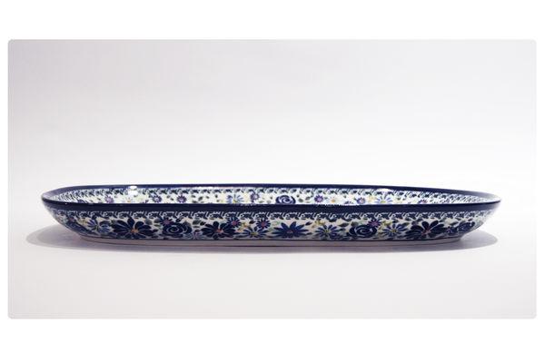 手工 波蘭陶 BOLESLAWIEC 長方形 橢圓 淺盤 37.3X23.5cm #GU1456.DU126
