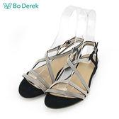 【Bo Derek 】金屬交叉鏈條平底涼鞋-黑色
