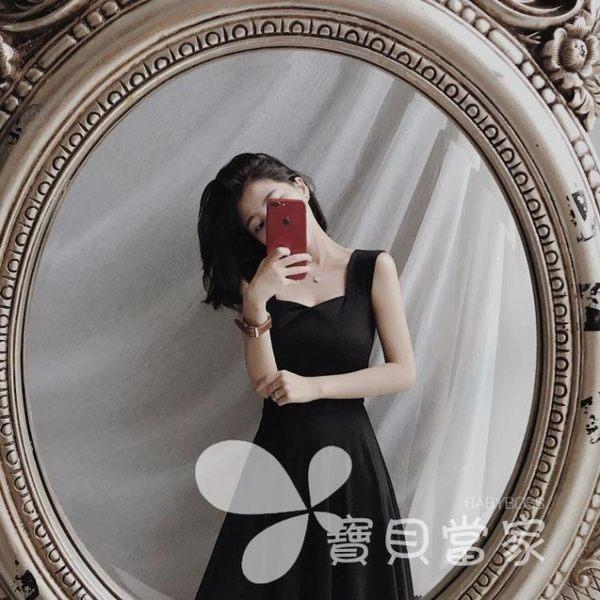 2018新款夏季復古無袖吊帶顯瘦高腰氣質優雅連身裙中長款小黑裙女